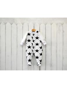 """К187/1-Ф Комбинезон """"Star Kid"""" черные звезды на белом фоне"""