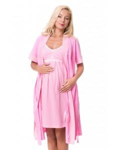 1207 Ночная сорочка розовая в белый горошек