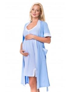 1223 Ночная сорочка голубая в белый горошек
