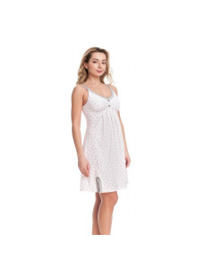 1287 Ночная сорочка розовая с серым серые сердечки на нежном розовом