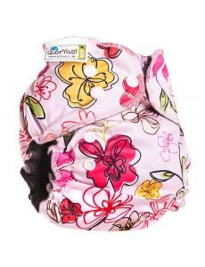 Многоразовый подгузник GlorYes! PREMIUM Цветы 3-18 кг + два вкладыша