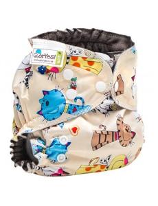 Многоразовый подгузник GlorYes! OPTIMA NEW Коты на бежевом 3-18 кг + два вкладыш