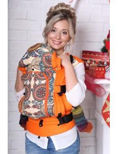 Эргорюкзак УНИВЕРСАЛ - Орнамент + хлопок Мандарин 005 + ПД Оранжевый лен (Накладки в комплекте)