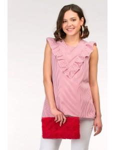 Красная блузка для беременных в полоску арт. 11361