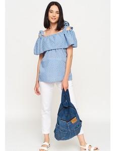 Блузка-топ для беременных и кормящих голубой арт. 11172