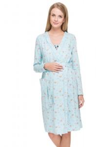"""Комплект для роддома """"Алина"""" голубой с зайками для беременных и кормящих"""