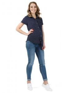 """Рубашка """"Бетси"""" для беременных и кормящих т.синий горошек"""