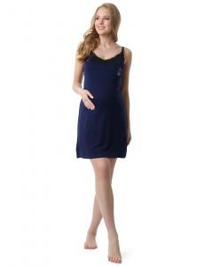"""Ночная сорочка """"Маиза"""" для беременных и кормящих цвет синий"""