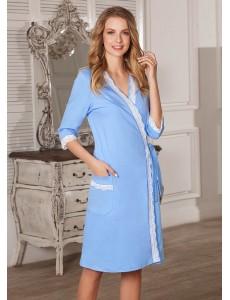 Халат Marta для беременных и кормящих голубой 5805