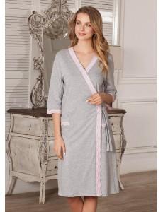 Халат Marta для беременных и кормящих серый меланж 5803
