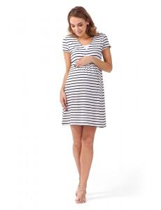 """Платье """"Лариса"""" для беременных и кормящих белый синий"""