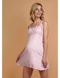 """Ночная сорочка """"Ливия"""" для беременных и кормящих; цвет: розовая с розочками"""
