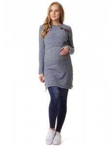 """Платье """"Элоиза"""" для беременных и кормящих; цвет: деним/люрекс"""