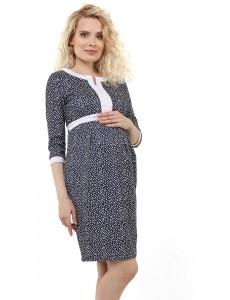 """Платье """"Кьяра"""" для беременных и кормящих; цвет: синий/белый горох"""