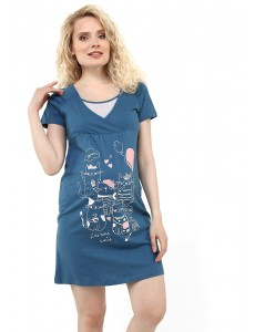 """Платье домашнее """"Янина"""" для беременных и кормящих; цвет: индиго"""