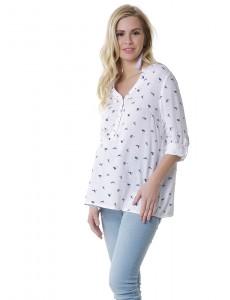 """Блузка """"Девика"""" для беременных и кормящих; цвет: белый/чайки"""