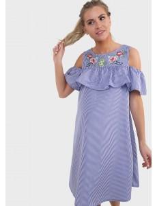 """Платье """"Аля"""" для беременных; цвет: голубая полоса/вышивка"""