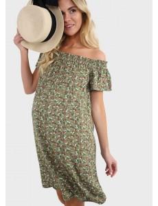 """Платье """"Сара"""" для беременных; цвет: зеленый цветы"""