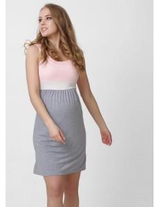 """Платье """"Триколор"""" для беременных и кормящих; цвет: пудровый"""