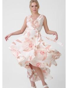 """Платье """"Василиса"""" для беременных; цвет: белый/розовые цветы"""