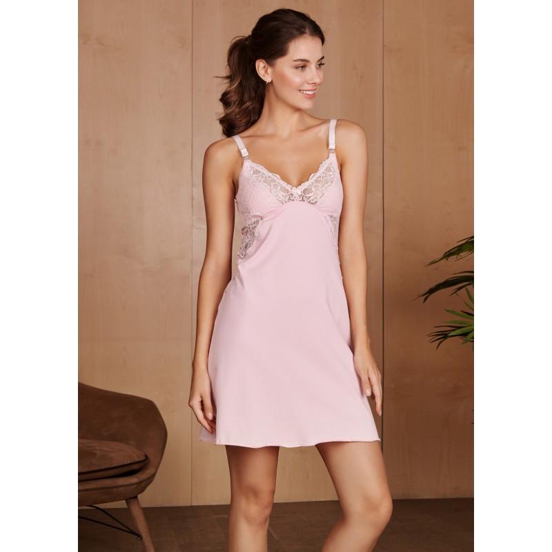 cef6a0ce1cffdd5 Ночная сорочка Izabel для беременных и кормящих; цвет: розовая 4438