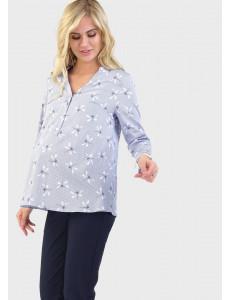 """Блузка """"Девика"""" для беременных и кормящих; цвет: полоса/стрекозы"""