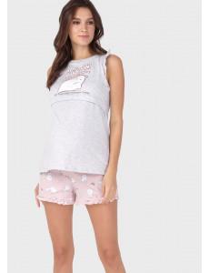"""Комплект для дома """"Лия"""" для беременных и кормящих; цвет: серо-розовый"""