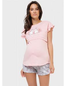 """Комплект для дома """"Саванна"""" для беременных и кормящих; цвет: розовые зайчики"""