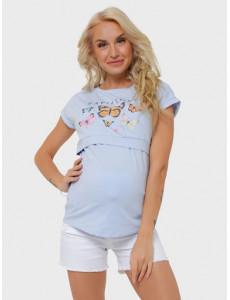 """Футболка """"Миган"""" для беременных и кормящих; цвет: голубой ss20"""
