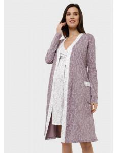 """Комплект для роддома """"Эвелин"""" для беременных и кормящих; цвет: кофейные веточки"""
