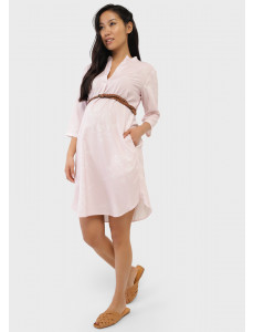 """Летнее платье-рубашка с цветами для беременных """"Ника""""; пудровый"""