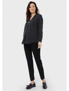 """Блузка """"Элионора"""" для беременных; цвет: черный/полоса"""