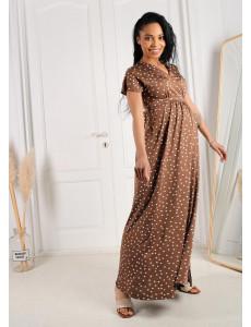 """Платье """"Лианель"""" для беременных и кормящих; цвет: кофе/горох"""