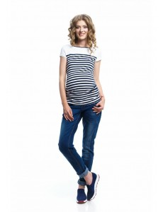 2109.0049. брюки джинс заужен силуэта с высокой трик кокет и регулир резин синий