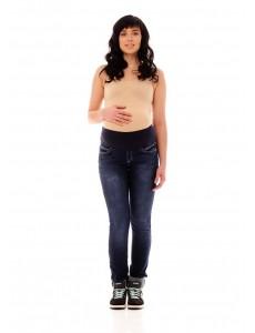 2489.0050. брюки джинсовые узкого силуэта  с трикотажной круговой кокеткой синий