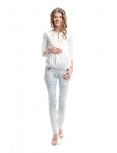 2107.0019 брюки джинсовые узкого силуэта трик кокет с регулиров резин светло-голубой