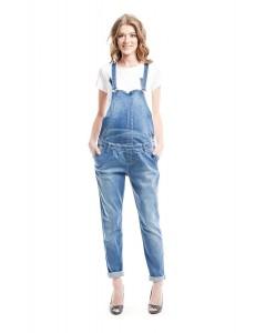 1041.1064 полукомбинезон джинсовый прямого силуэта тёмно-голубой