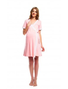 426605.7443Д комплект для роддома халат+ночная сорочка принт бело-роз+роз