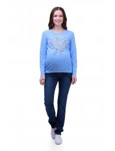 2478.1026 брюки джинсовые зауженного силуэта с круг трик кокеткой синий