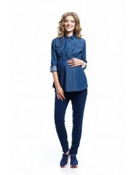 6001.1078 блуза-туника джинсовая Х-образного силуэта синий