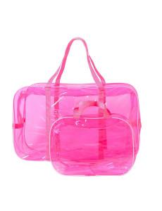 Сумка в роддом розовая тонированная без кармашка большой размер