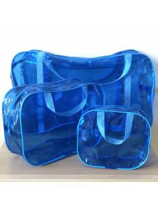 Сумка в роддом синяя тонированная с кармашком большой размер
