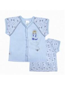 110336 Кофточка к/рук для мальчика Рисунок на голубом