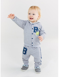 117193 Комплект  куртка+штаны  для мальчика Серый меланж