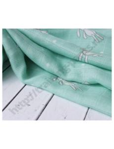 Муслиновая пеленка Зайчик на серо-зеленом