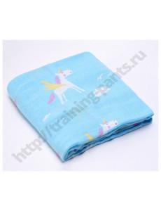 Муслиновая пеленка Единорог на голубом