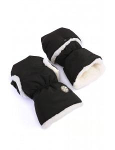 Рукавицы на коляску черные /молочный мех