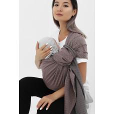 Слинг с кольцами из шарфовой ткани бежевый/темно-серый