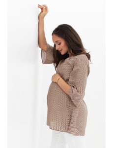 Блуза для беременных бежевая в горошек