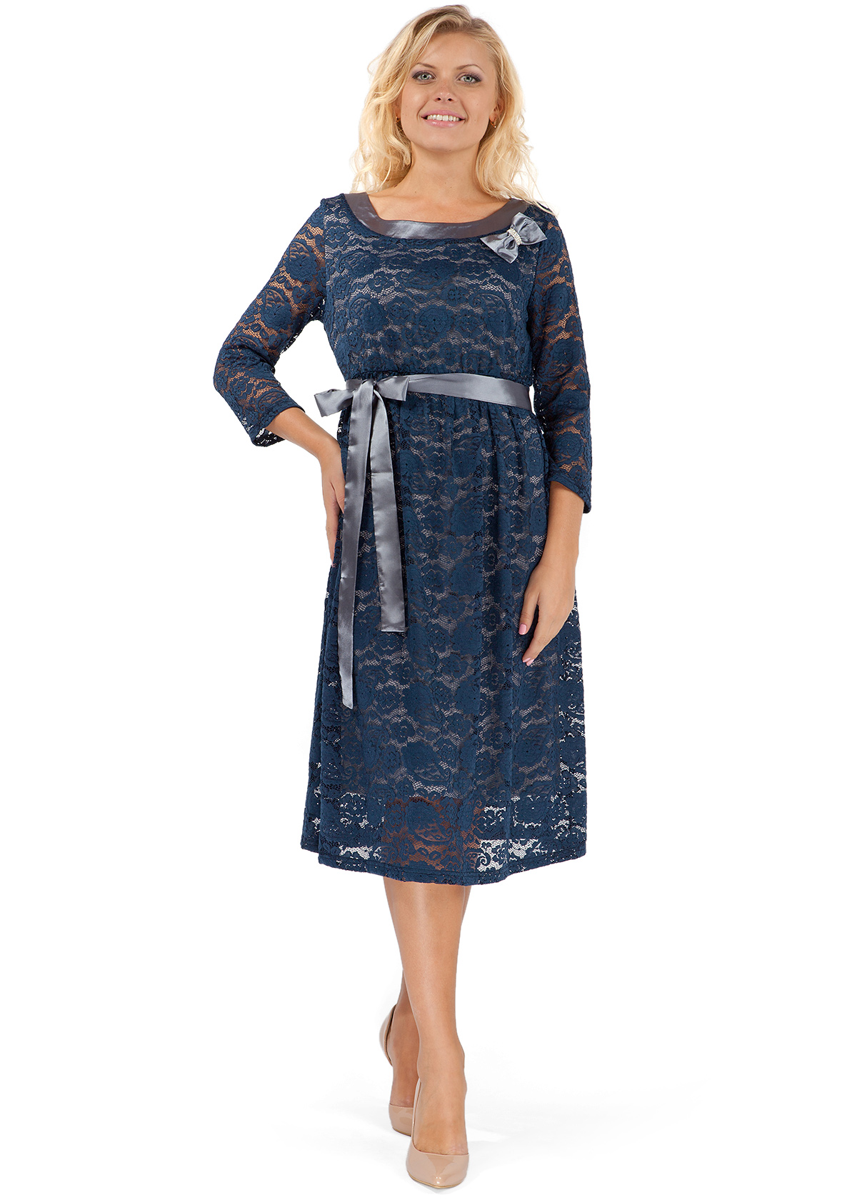 Гипюровое платье в пол для беременных 307